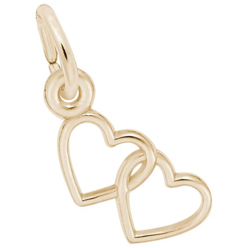 14K Gold Two Open Hearts Accent Charm by Rembrandt Charms