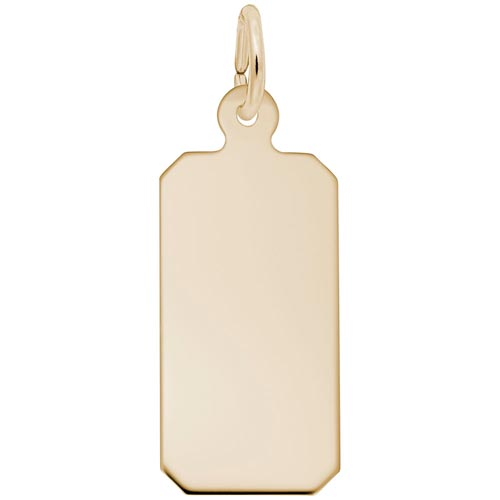 14K Gold Rectangle Charm Tag Series 50 by Rembrandt Charms
