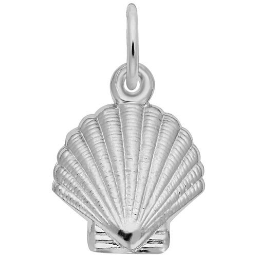 14K White Gold Clamshell Charm by Rembrandt Charms