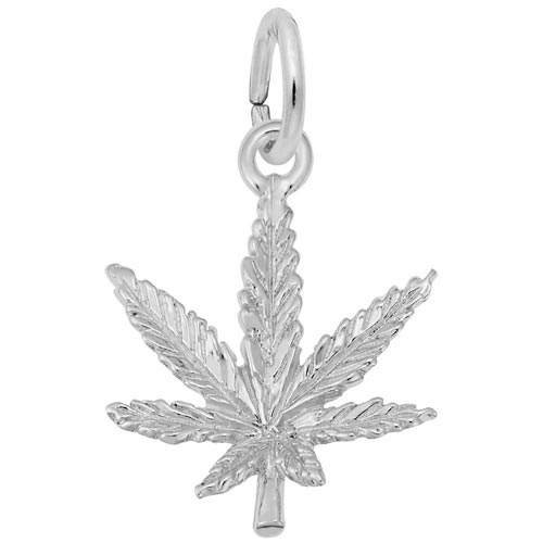 14k White Gold Marijuana Leaf Charm by Rembrandt Charms
