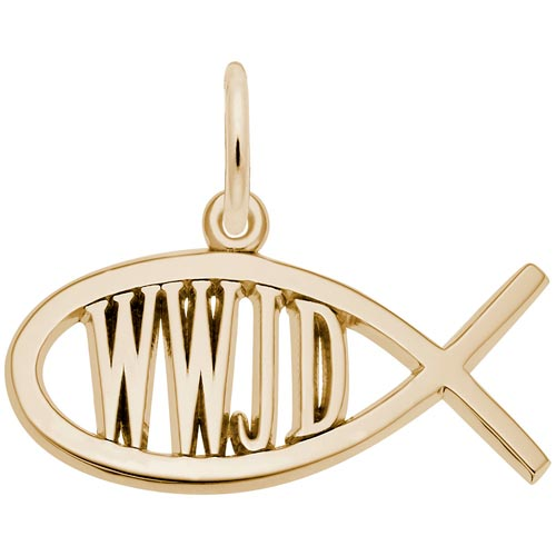 14K Gold WWJD Fish Charm by Rembrandt Charms