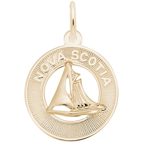 Gold Plated Nova Scotia Sailboat Ring Charm by Rembrandt Charms