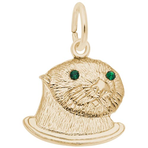 14k Gold Sea Otter (green) Charm by Rembrandt Charms