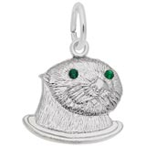 14k White Gold Sea Otter (green) Charm by Rembrandt Charms