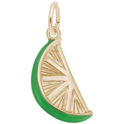 Gold Plate Lime Slice Charm by Rembrandt Charms