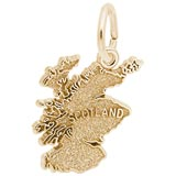 Gold Plate Scotland Map Charm by Rembrandt Charms