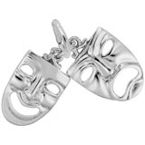 14K White Gold Theatre Masks Charm by Rembrandt Charms