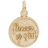 10K Gold Flower Girl Disc Charm