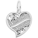 14K White Gold Someone Special Heart Charm by Rembrandt Charms