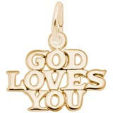 14K Gold God Loves You Charm by Rembrandt Charms