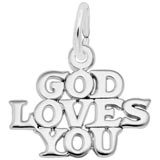 14K White Gold God Loves You Charm by Rembrandt Charms