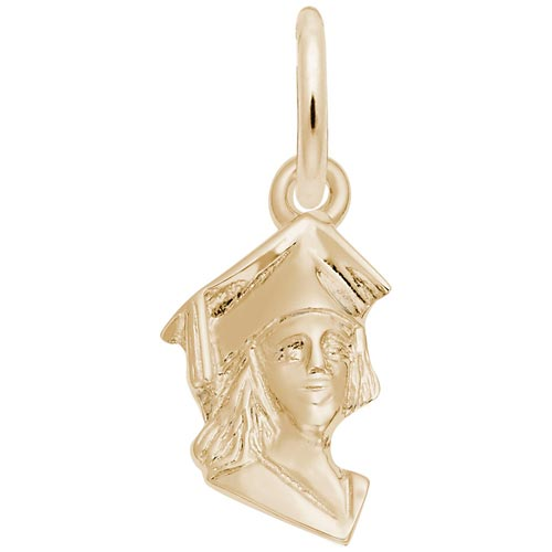 14k Gold Female Graduate Accent Charm by Rembrandt Charms
