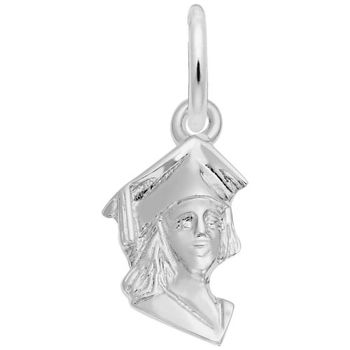 14K White Gold Female Graduate Accent Charm by Rembrandt Charms