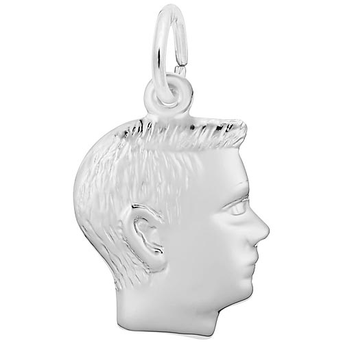 14k White Gold Boy's Head Charm by Rembrandt Charms