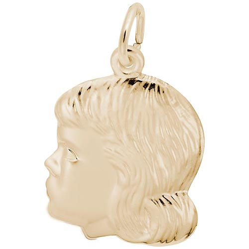 Gold Plate Young Girl's Head Charm by Rembrandt Charms