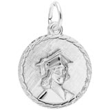 Sterling Silver Female Graduate Disc Charm by Rembrandt Charms