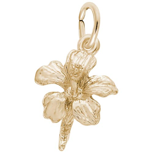 14K Gold Hibiscus Flower Accent Charm by Rembrandt Charms