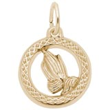 Gold Plate Small Praying Hands Disc Charm by Rembrandt Charms