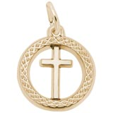 14K Gold Small Cross Ring Charm by Rembrandt Charms