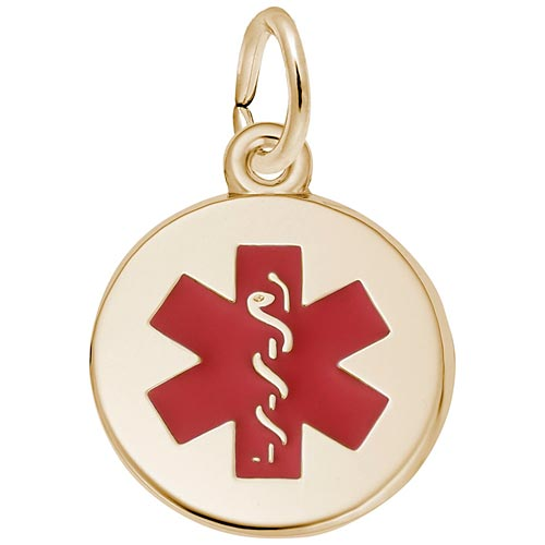 Gold Plated Medical Alert (red) Charm by Rembrandt Charms