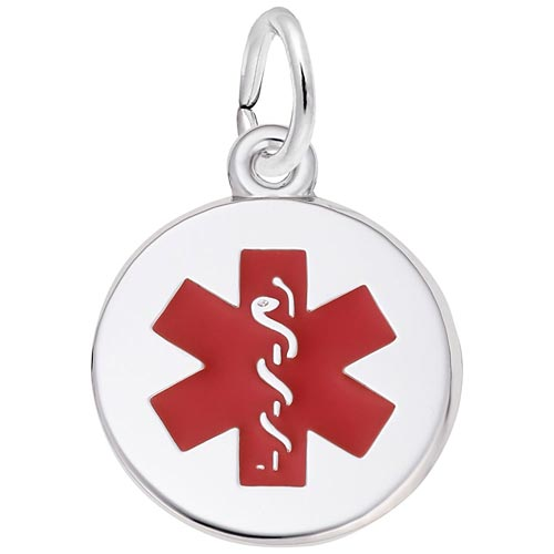 14k White Gold Medical Alert (red) by Rembrandt Charms