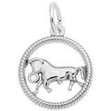 14k White Gold Taurus Zodiac Charm by Rembrandt Charms