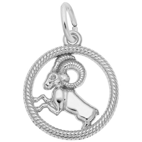 14k White Gold Aries Zodiac Charm by Rembrandt Charms