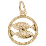 14k Gold Pisces Zodiac Charm by Rembrandt Charms