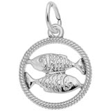 14k White Gold Pisces Zodiac Charm by Rembrandt Charms