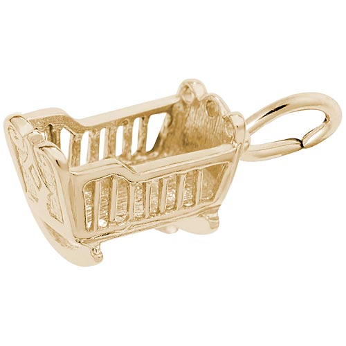 14k Gold Baby Cradle Charm by Rembrandt Charms