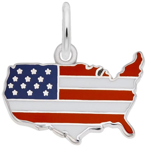 14k White Gold USA Map Red White and Blue Charm