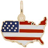 Gold Plated USA Map Red White and Blue Charm