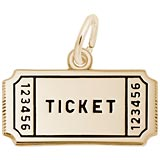 Gold Plated Movie Ticket Charm by Rembrandt Charms