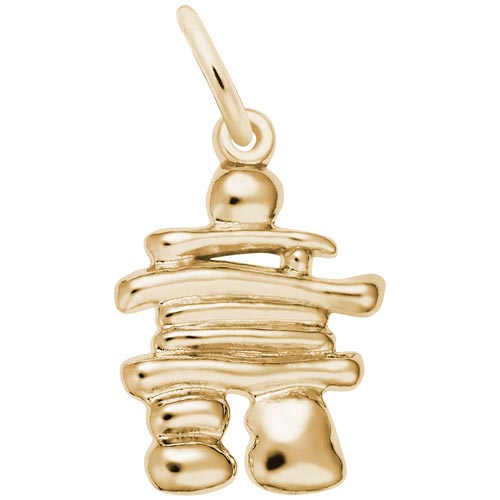 Gold Plate Inukshuk Charm by Rembrandt Charms