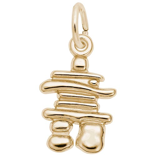 Gold Plate Inukshuk Accent Charm by Rembrandt Charms