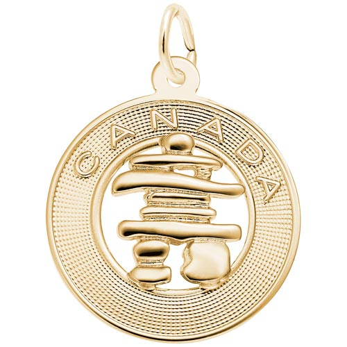 Gold Plate Canada Inukshuk Charm by Rembrandt Charms