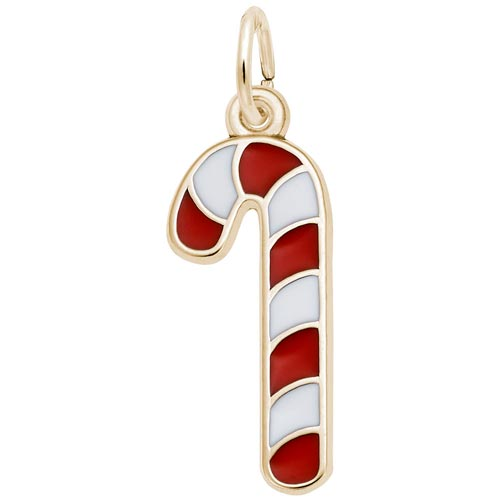 14K Gold Red and White Candy Cane Charm by Rembrandt Charms