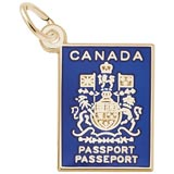 Gold Plated Canadian Passport Charm by Rembrandt Charms