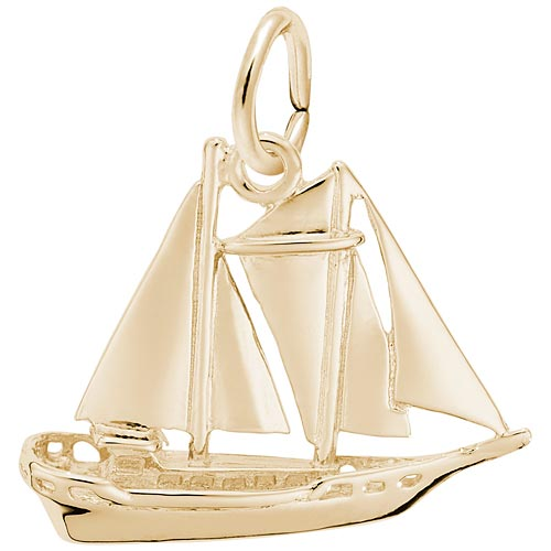 Gold Plate Schooner Sailboat Charm by Rembrandt Charms