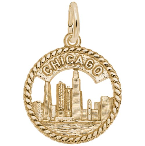 Gold Plated Chicago Skyline Charm by Rembrandt Charms