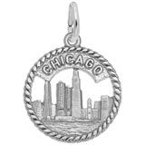 Sterling Silver Chicago Skyline Charm by Rembrandt Charms
