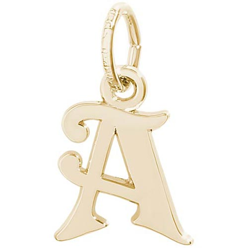 14K Gold Curly Initial A Accent Charm by Rembrandt Charms