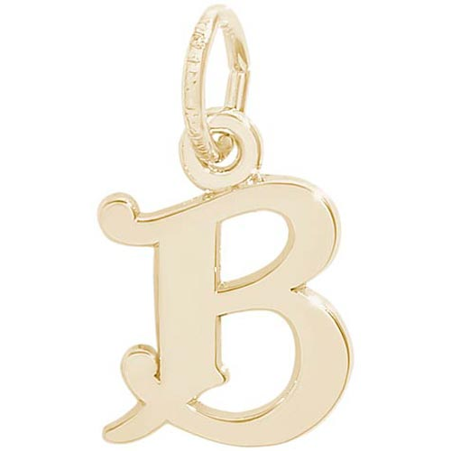 14K Gold Curly Initial B Accent Charm by Rembrandt Charms