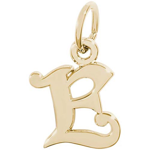 14K Gold Curly Initial E Accent Charm by Rembrandt Charms