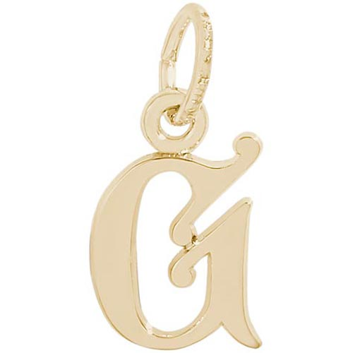14K Gold Curly Initial G Accent Charm by Rembrandt Charms