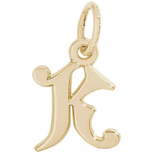 14K Gold Curly Initial K Accent Charm by Rembrandt Charms