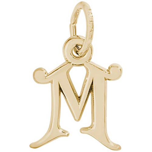 14K Gold Curly Initial M Accent Charm by Rembrandt Charms