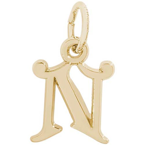 14K Gold Curly Initial N Accent Charm by Rembrandt Charms