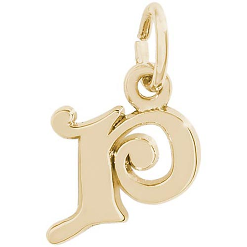 14K Gold Curly Initial P Accent Charm by Rembrandt Charms