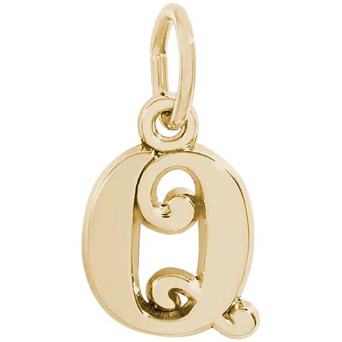 14K Gold Curly Initial Q Accent Charm by Rembrandt Charms